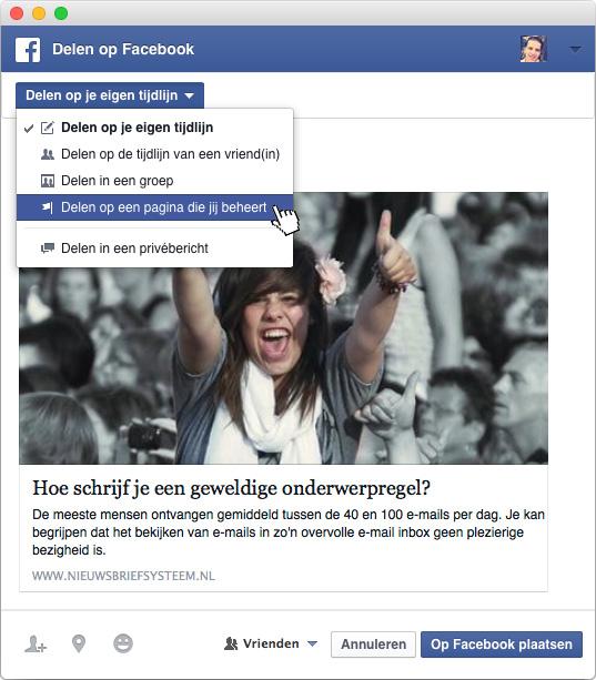 Facebook delen op bedrijfspagina